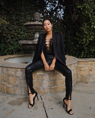 How to wear: black blazer, black lace bustier top, black leather skinny pants, black suede heeled sandals