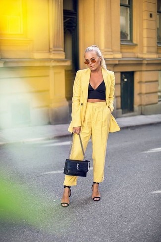 How to wear: yellow blazer, black bustier top, yellow tapered pants, black leather heeled sandals