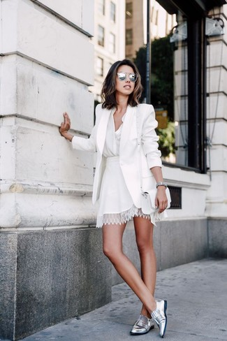 How to wear: white blazer, white button down blouse, white lace skater skirt, silver leather loafers