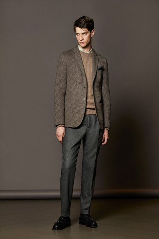 How to wear: brown herringbone wool blazer, brown cable sweater, beige plaid dress shirt, grey wool dress pants