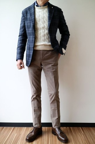 How to wear: navy plaid wool blazer, beige cable sweater, navy dress shirt, brown dress pants
