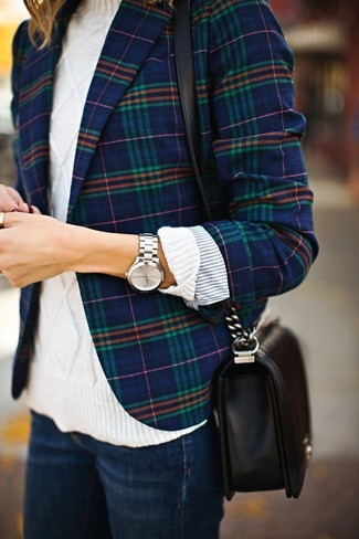 Women's Navy Plaid Blazer, White Cable Sweater, Navy Jeans, Black Leather Crossbody Bag