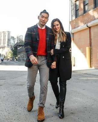 Red Cable Sweater Outfits For Men: Marry a red cable sweater with grey jeans to pull together an interesting and modern-looking casual ensemble. Don't know how to complement this ensemble? Finish with brown suede casual boots to class it up.