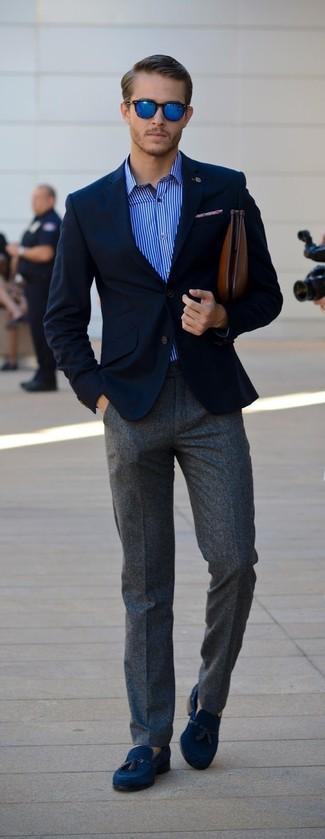 Camisa de manga larga de rayas verticales azul de Etro