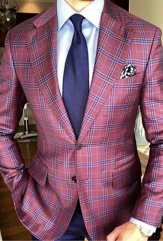 Cómo combinar: blazer de tartán rojo, camisa de vestir blanca, camisa de vestir azul marino, corbata azul marino