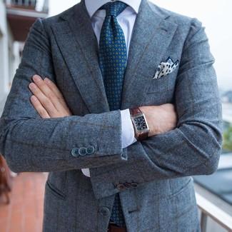 Cómo combinar: blazer de lana a cuadros gris, camisa de vestir blanca, corbata estampada en verde azulado, pañuelo de bolsillo estampado en blanco y azul marino