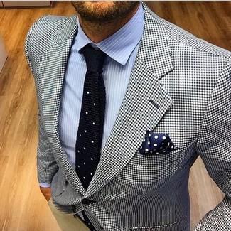 0c39e92f ... Look de moda: Blazer de pata de gallo en blanco y negro, Camisa de