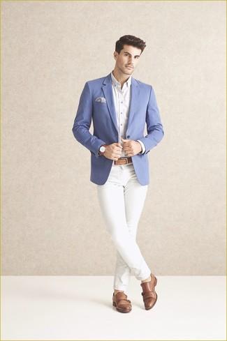 ModaBlazer BlancaPantalón De Chino Look AzulCamisa Vestir rCtdsxhQ