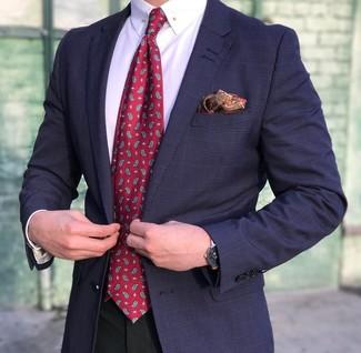 Equípate un blazer de tartán azul marino de Ermenegildo Zegna junto a un pantalón de vestir negro para una apariencia clásica y elegante.