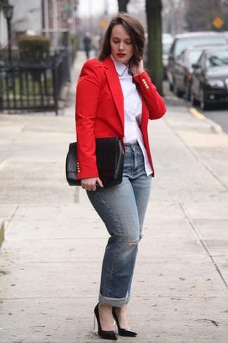 Blazer Rojo98 Looks De Un ModaModa Para Cómo Combinar Mujeres PknX8O0w