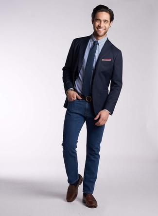 Cómo combinar: blazer azul marino, camisa de vestir de cuadro vichy azul, vaqueros azul marino, mocasín de cuero en marrón oscuro