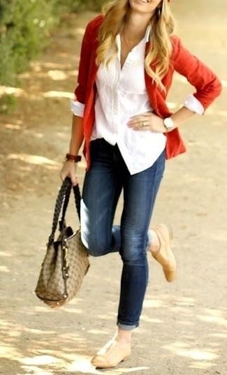 Como vestir blazer con jeans mujer