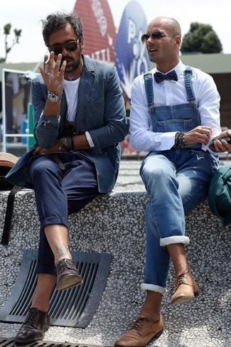 Zapatos derby de cuero en marrón oscuro de Gucci