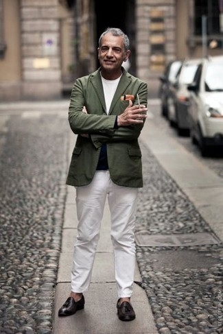 Jacket Outfits For Men: A jacket and white chinos are among the key pieces in any man's versatile closet. If you want to break out of the mold a little, introduce a pair of dark brown leather tassel loafers to the mix.