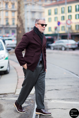 Nick Wooster wearing Burgundy Blazer, Grey Cardigan, Grey Wool Dress Pants, Burgundy Leather Derby Shoes
