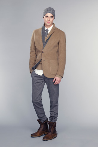 How to wear: brown wool blazer, brown cardigan, white dress shirt, charcoal dress pants