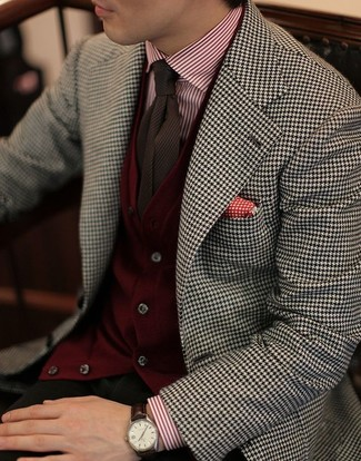 How to wear: white and black houndstooth blazer, burgundy cardigan, white and red vertical striped dress shirt, olive chinos