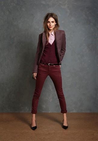 How to wear: burgundy wool blazer, burgundy cardigan, pink dress shirt, burgundy skinny jeans