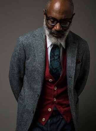 How to wear: grey herringbone blazer, red cardigan, white dress shirt, navy jeans