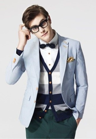 How to wear: light blue blazer, white and navy horizontal striped cardigan, white dress shirt, dark green chinos