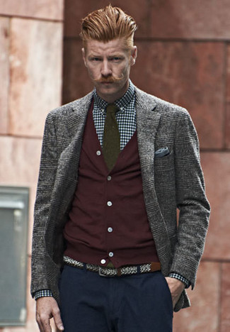 How to wear: grey plaid wool blazer, burgundy cardigan, navy and white gingham dress shirt, navy chinos