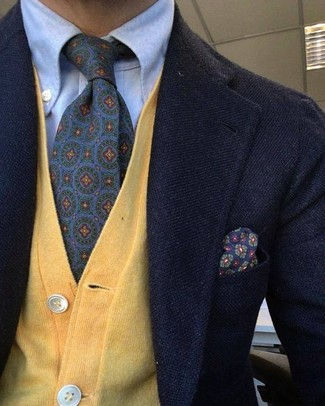 How to Wear a Mustard Cardigan For Men: Pair a mustard cardigan with a black wool blazer if you want to look on-trend without putting in too much effort.