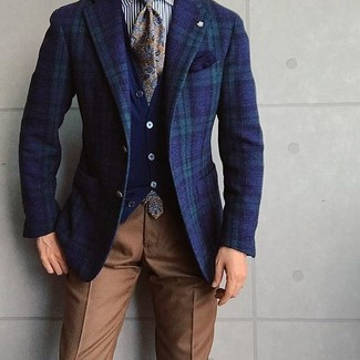 How to wear: navy and green plaid blazer, navy cardigan, white and black vertical striped dress shirt, brown dress pants