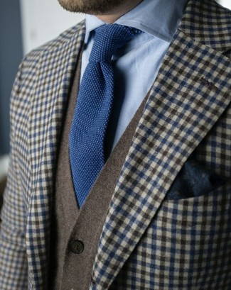 How to wear: brown gingham wool blazer, olive cardigan, light blue dress shirt, navy knit tie