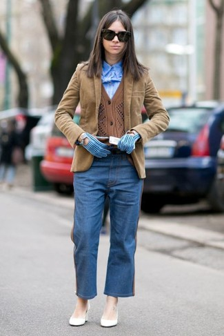 How to wear: tan corduroy blazer, brown cardigan, blue dress shirt, blue boyfriend jeans
