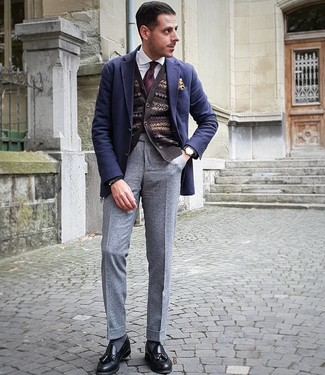 How to wear: navy wool blazer, dark brown fair isle cardigan, white dress shirt, grey wool dress pants