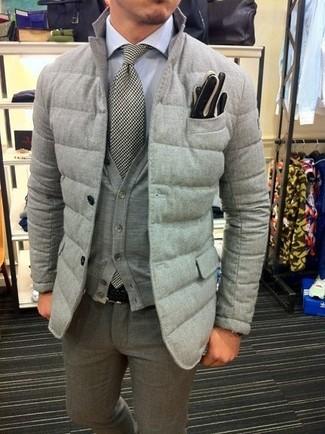 How to wear: grey quilted blazer, grey cardigan, white dress shirt, grey wool dress pants