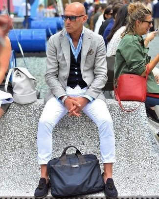 How to wear: grey blazer, navy cardigan, light blue dress shirt, white chinos