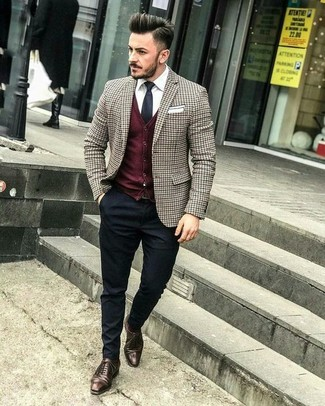 How to wear: brown check blazer, burgundy cardigan, white dress shirt, black dress pants