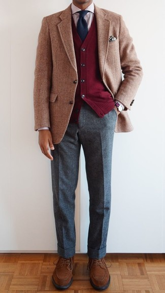 How to wear: tan herringbone wool blazer, red cardigan, red vertical striped dress shirt, grey wool dress pants