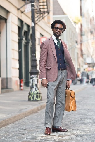 How to wear: burgundy blazer, navy cardigan, white dress shirt, grey wool dress pants