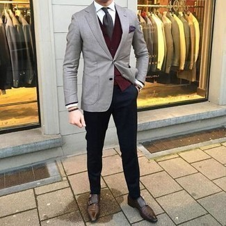 Dark Brown Bracelet Outfits For Men: If you gravitate towards off-duty looks, why not try this pairing of a grey blazer and a dark brown bracelet? Rounding off with a pair of dark brown leather double monks is a guaranteed way to inject a dose of polish into this look.
