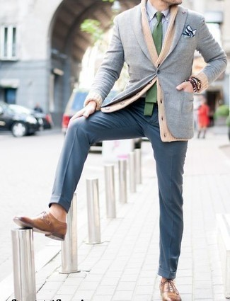 How to Wear a Light Blue Check Dress Shirt For Men: Reach for a light blue check dress shirt and blue dress pants to have all eyes on you. When in doubt as to the footwear, add a pair of tan leather oxford shoes to the equation.