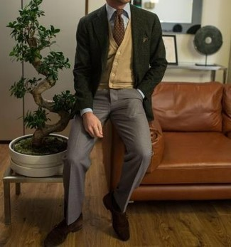 Dark Green Blazer Outfits For Men: A dark green blazer and grey dress pants are a refined combo that every modern gent should have in his wardrobe. Dark brown suede monks serve as the glue that will pull your outfit together.