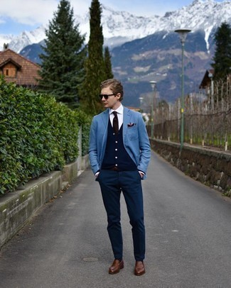 Light Blue Blazer Smart Casual Outfits For Men: This pairing of a light blue blazer and navy chinos is a never-failing option when you need to look on-trend but have zero time to dress up. Bring a sleeker twist to an otherwise mostly casual outfit by rounding off with a pair of brown leather loafers.