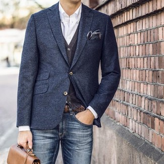 How to wear: navy wool blazer, charcoal cardigan, white long sleeve shirt, navy jeans