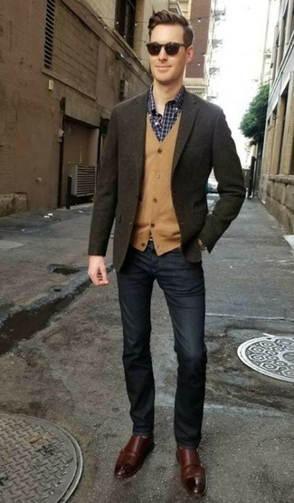 How to wear: olive wool blazer, tan cardigan, navy and white check long sleeve shirt, navy jeans