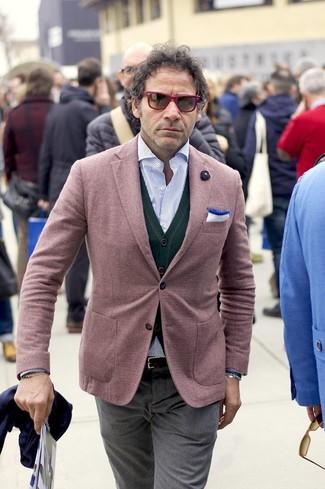 How to wear: burgundy blazer, dark green cardigan, light blue vertical striped long sleeve shirt, grey dress pants