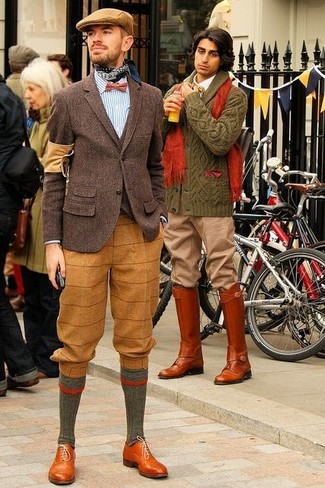 Red Polka Dot Bow-tie Outfits For Men: A dark brown wool blazer and a red polka dot bow-tie are the kind of a tested casual ensemble that you so desperately need when you have no extra time. To give your overall ensemble a more polished finish, add tobacco leather oxford shoes to the equation.