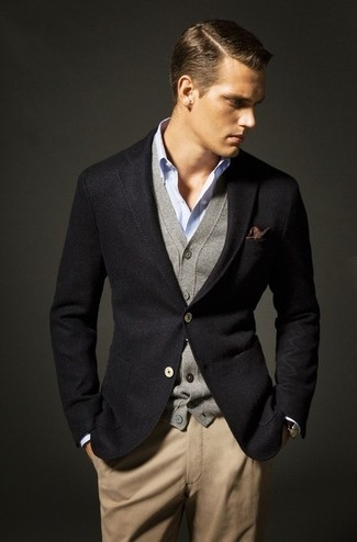 Wear a black wool suit jacket with khaki chino pants for your nine-to-five.