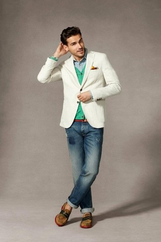 How to wear: white blazer, mint cardigan, light blue long sleeve shirt, navy ripped jeans