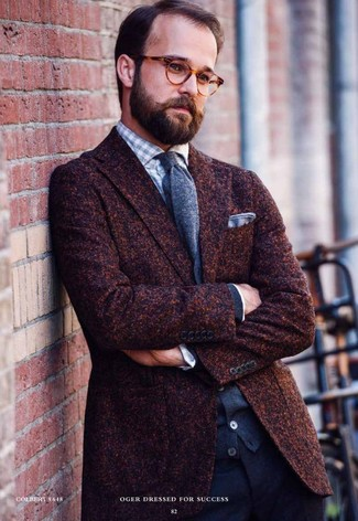 How to wear: dark brown wool blazer, charcoal cardigan, grey gingham long sleeve shirt, navy wool dress pants