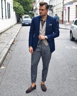 Cardigan Outfits For Men: This combination of a cardigan and charcoal vertical striped chinos is clean, dapper and very easy to recreate. Want to dial it up with shoes? Complete this outfit with dark brown suede loafers.