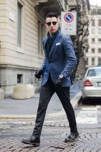 How to Wear Charcoal Chinos: A blue blazer and charcoal chinos are an easy way to infuse a dose of rugged refinement into your casual routine. Rev up the cool of this look by slipping into black leather chelsea boots.
