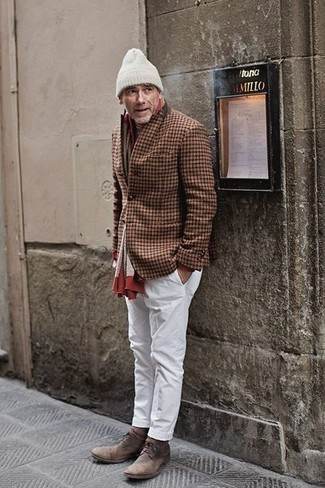 Brown Check Wool Blazer Outfits For Men: Wear a brown check wool blazer and white chinos if you seek to look seriously stylish without exerting much effort. Complement this look with brown suede desert boots and the whole outfit will come together quite nicely.