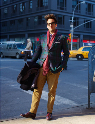 Try pairing a navy plaid blazer with a red scarf if you're going for a neat, stylish look. Finish off this ensemble with burgundy leather loafers. And if you're looking for a neat getup that transitions easily into spring, this is it.